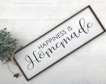 Happiness is homemade, happiness wood sign, wooden Happiness is Homemade farmhouse sign, wood kitchen sign, farmhouse kitchen, homemade sign