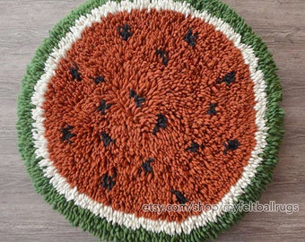 Felt Shag rug round 100cm , Watermelon shag rug, Round felt ball rugs , felt rug,felted rugs, Nepal handmade round rug