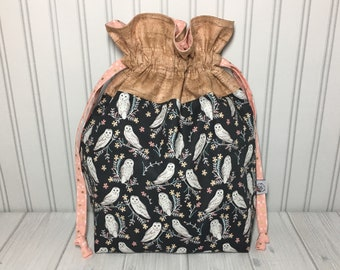 Large Drawstring Knitting Crochet Project Bag - Barn Owls