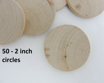 "50 Wood Circles, 2 inch wood discs, wooden disk 2""  wood 1/4"" thick unfinished DIY"
