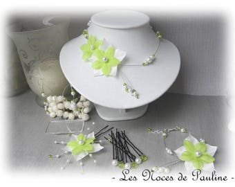 Green and white wedding flower silk adornment has Julia 10 pieces