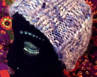 Snow Skies, a soft and warm handknit child's beanie in machine washable and vegan bulky acrylic