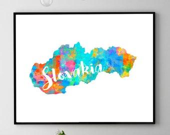 Slovakia Map Print, Printable Map Of Slovakia, Slovakia Art, Slovakia Travel Poster, Slovakia Gift, Instant Download