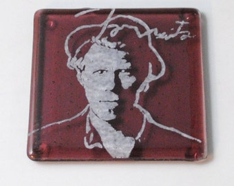 Tom Waits Fused Glass Coaster, Blues, Jazz, Rock and Roll, One From the Heart
