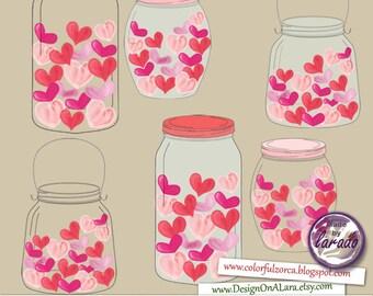 Jar of love, Jar of hearts, Love Jars clipart, Mason Jars Digital Clip Art for Scrapbooking Card Making Cupcake Toppers Paper Crafts