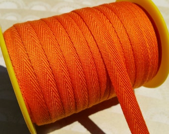 """Orange Twill Tape Trim - Sewing Banners Bunting Shipping Packaging - 3/8"""" Wide - 10 Yards"""