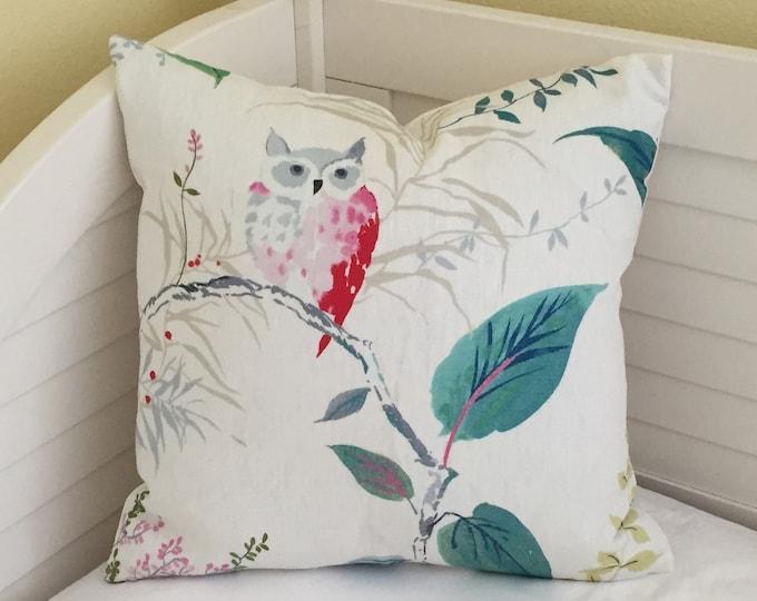 Kravet Owlish in Multi Colors Designer Pillow Cover - Square and Euro Sizes, Kravet's Kate Spade Fabric