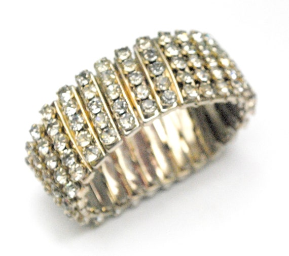 clear Rhinestone Expandable  Bracelet - five rows crystal - silver metal - expansion bangle