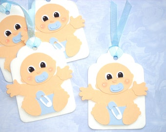 4 Adorable Baby Boy Handmade Gift Tags Paper Pieced Baby Tags New Baby Bay Showers Gift Tags