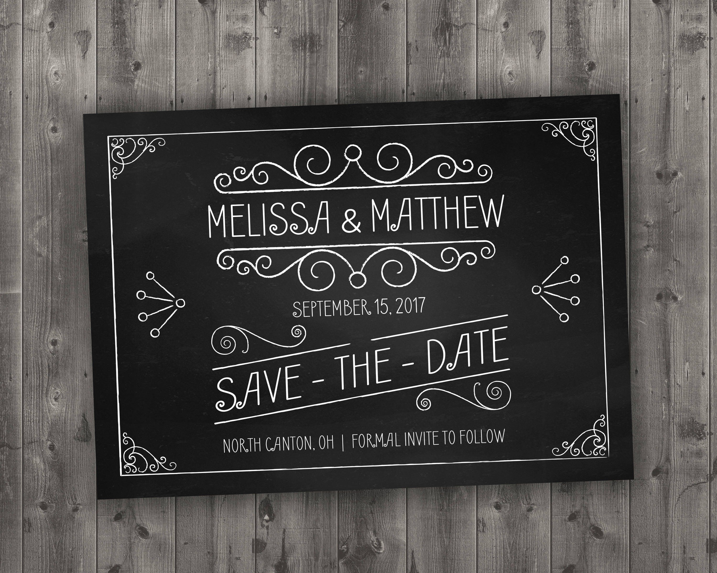 Best Chalkboard Save the Date Printed - Black and White, Chalk, Board  ED43