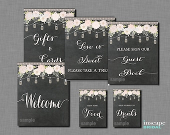 6-Table Signs Package, Rustic Bridal Shower Table Signs, Mason Jars Table Signs, Chalkboard Table Signs, Country Bridal Shower Table Signs