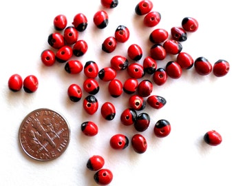100 Amazon Beads - Fair Trade Beads - 5mm Red Black Beads - Natural Seed Beads - Huayruros Beads - Santeria Elegua Voodoo Voudoun Protection