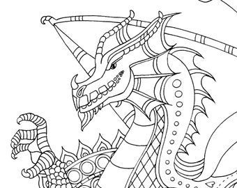 Welsh Dragon Adult Colouring Page - Instant PDF Download