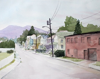 Electricity on Rombout Street orginal watercolor painting 20 x 14