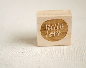 Hand lettered rubber stamp / Hello love / Christmas gift for wife, best friend, roommate / stationery, arts and crafts, scrapbooking