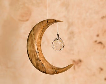 Suncatcher Made in Ireland Crystal + Wood Moon with Angel /Fairy or Sphere Prism, Window Hanging Rainbow Maker SM. VERSION