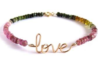 Gold love Bracelet 14k Gold Fill Watermelon Tourmaline. October Birthstone Bracelet. Aziza Jewelry