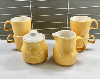 Vintage Yellow Coffee Cups and Cream & Sugar Set of Six