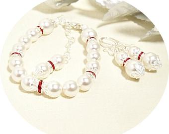 Red Rhinestone Pearl Jewelry, Red and White, Bridesmaid Gift, Bridesmaid Jewelry, Bracelet Earrings, Bridal Accessories, Pearl Rhinestone