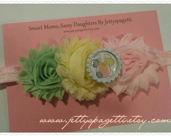 Mickey Mouse Easter Bunny Shabby Chic Headband - Minnie Mouse Pink, Green, Blue, yellow