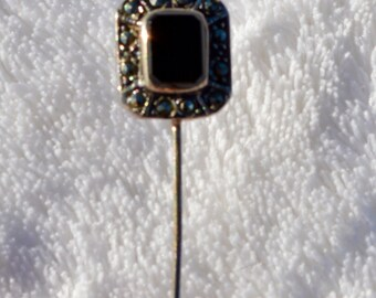 Vintage Sterling Silver Onyx Pyrite Hat Pin