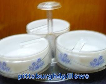 Gemco - Blue Cornflower - Condiment Caddy / Lazy Susan -Read Description -  HTF /Rare  Pattern - EUC - No Spoons