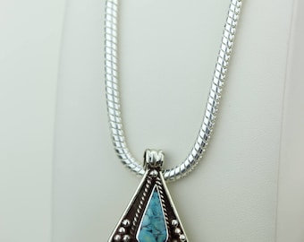 Small Size Turquoise Coral Native Tribal Ethnic Vintage Nepal Tibetan Jewelry OXIDIZED Silver Pendant + Chain P4374