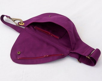 Fuchsia Purple Cotton Belt Bag : Fanny Pack, Hip Bag, Bright Color, Spring Style, Festival Bag, Travel Bag, Hands Free, Violet, Waist Bag