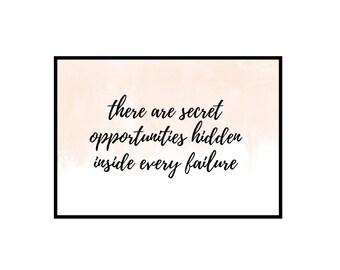 Secret Opportunities Wall Print, Motivational Print, Watercolour Blush