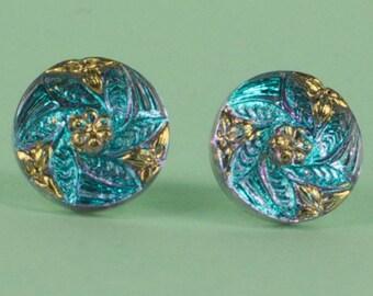 Blue Czech Glass Post Earrings