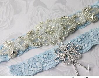 Wedding Garter Set Bridal Garter Something Blue Stretch Lace Keepsake and Toss garters, Rhinestone and Crystal garters
