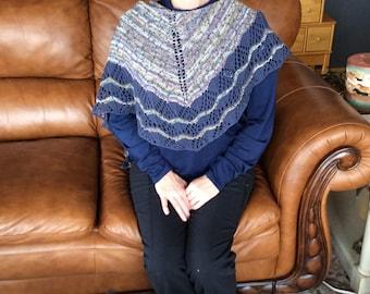 Beautiful Hand Knit Multicolor Shawl