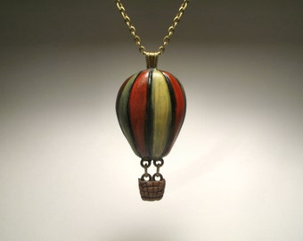 Red and Yellow Hot Air Balloon Necklace - Polymer Clay Sculpture