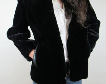 Vintage Black Faux Fur Teddy Coat with Leather detailing Size M OUTERLAYERS USA