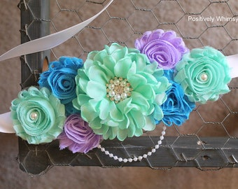 Maternity Sash, Mint Maternity Sash, Boy Maternity Sash, Maternity Flower Sash, Mint Green, Turquoise Blue, Lavender Purple, White, RTS