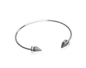 Brass Bangle / Handmade Bangle, Bracelet / Rhodium Plated Brass / 1pcs / bw50001
