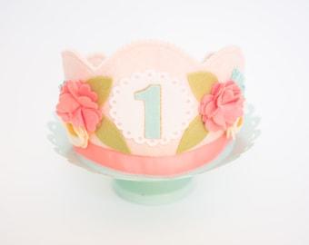 Spring Flower Crown, Girl Birthday Crown, Georgia Peach, Flower Crown, Birthday Party, Girl Birthday, Girl First Birthday, First Birthday