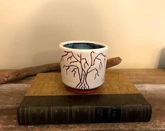 Hand Painted Coffee Cup / Seasons / Winter / Thumbprint / Wheel Thrown and Altered / Bluebird Raku