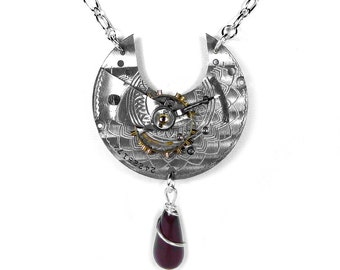 Steampunk Jewelry Womens Necklace ETCHED Pocket Watch Sterling Wire Wrap GARNET Anniversary Mothers Day - Steampunk Jewelry by edmdesigns