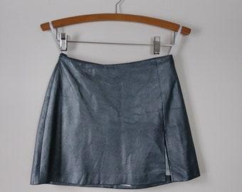Metallic Vintage Leather Bebe Skirt