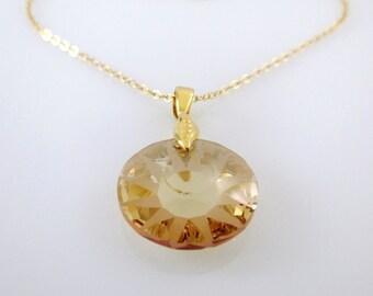 Swarovski Crystal Gold Necklace,Swarovski Crystal Necklace,Swarovski Necklace,Swarovski Necklace Gold,Crystal Necklace,Crystal Necklace Gold