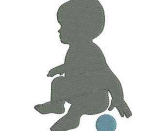 Instant download silhouette baby embroidery design machine applique
