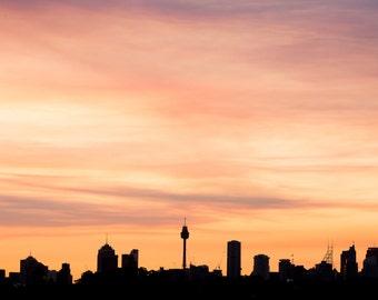 Sydney Sunset fine art photo, travel photography, travel print, Australian travel photo