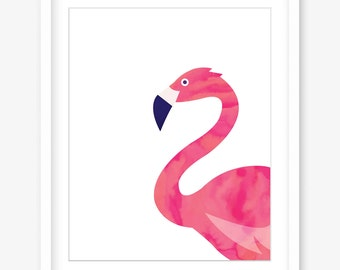 Flamingo art printable wall art - watercolour art print - flamingo printable poster art - printable flamingo wall decor - DIGITAL DOWNLOAD