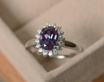Oval cut alexandrite ring, halo ring, sterling silver ring, wedding ring, June birthstone ring, color changing gemstone