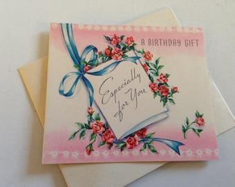 Vintage Birthday Greeting Card - Pink Floral Birthday Gift Enclosure - Mini Card Unused with Envelope - Vintage Greeting Card