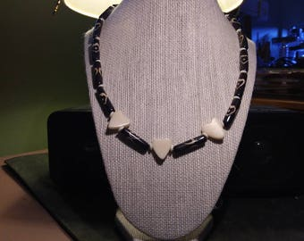Heart Batik Bone Bead Necklace