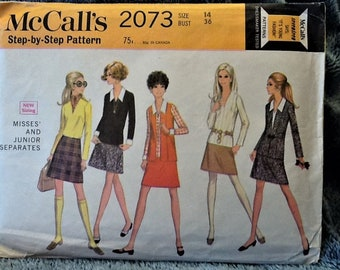Vintage 1969 McCall's Pattern 2073 Misses' and Junior Separates