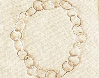 Hand Forged Hammered Sterling Silver Link Timeless Bracelet