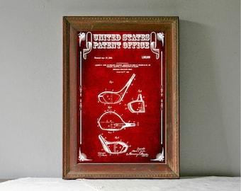 Golf Club Head Patent, Patent Print, Wall Decor, Golf Art, Golfer Gift, Golfing Print, Golf Players, Vintage Golf, Golf Poster, Golf Décor
